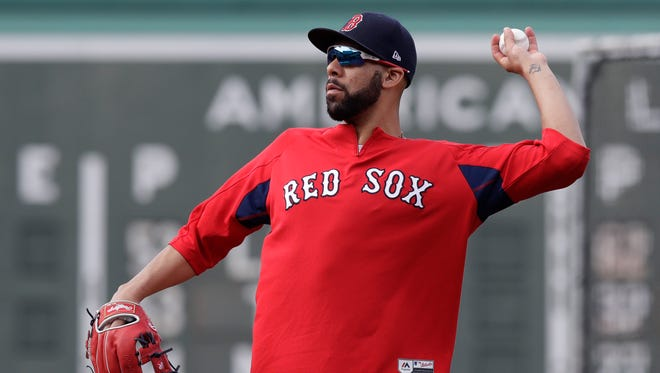 Boston Red Sox starting pitcher David Price during batting practice before a  game at Fenway Park on May 23. He'll make his season debut on Monday in Chicago against the White Sox.