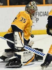 Predators goaltender Pekka Rinne (35) blocks a shot