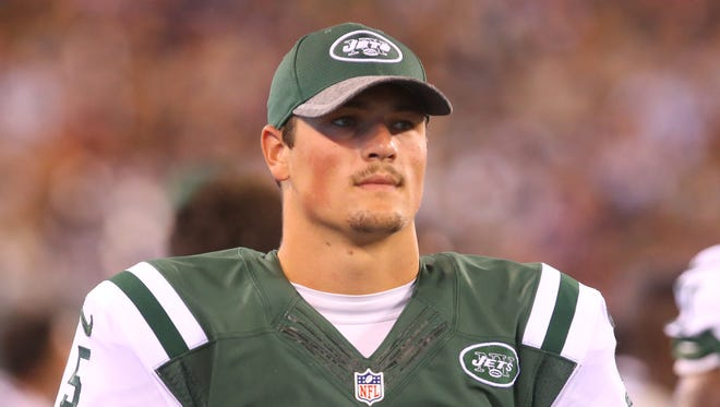New York Jets quarterback Christian Hackenberg (5) watches from the sideline against the New York Giants during an NFL football game Saturday, Aug. 27, 2016, in East Rutherford, NJ. The Giants won 21-20.