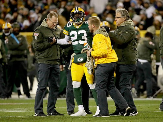 GREEN BAY, WI - NOVEMBER 06:  Damarious Randall #23 of the Green Bay Packers is attended to after being injured in the second quarter against the Detroit Lions at Lambeau Field on November 6, 2017 in Green Bay, Wisconsin. (Photo by Jonathan Daniel/Getty Images)