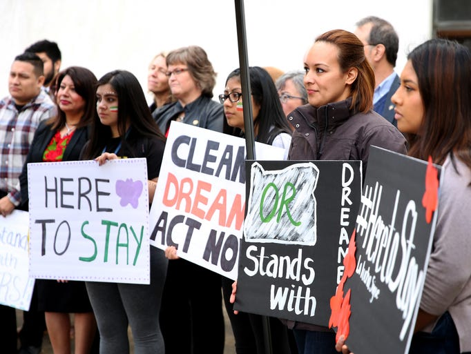 Anahi Barragan, second from right, a DACA recipient,
