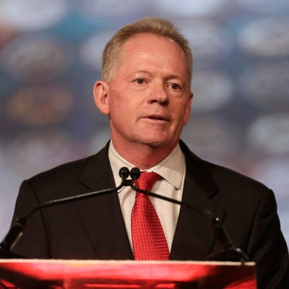Louisville head coach Bobby Petrino speaks during a