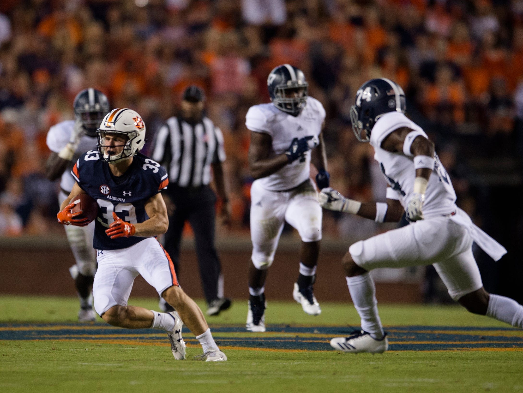 Auburn wide receiver Will Hastings (33) runs downfield during the NCAA football game between Auburn vs. Georgia Southern on Saturday, Sept. 2, 2017, at Jordan Hare Stadium in Auburn, Ala.
