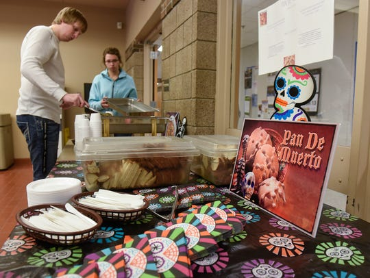 Themed bread is available in the commons area during a Dia de los Muertos and Halloween Bash Tuesday, Oct. 31, at St. Cloud Technical & Community College in St. Cloud.