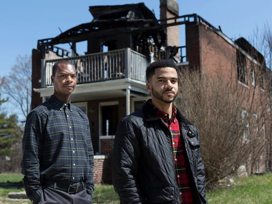 From left, native Detroiters Jelani Karamoko and Damion Ellis have formed Black Bottom PAC advocating for diversity within the contracts won by local contractors removing blighted properties in Detroit, Thursday, April 26, 2018.