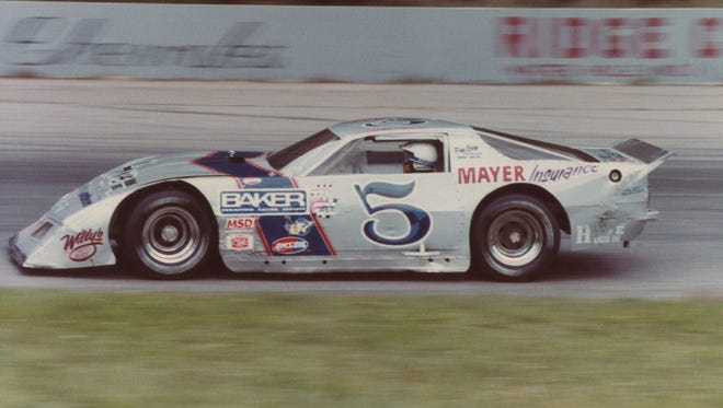 Jim Sauter races at Dells Motor Speedway in Wisconsin Dells in this shot from the early 1980s. Sauter died Friday at 71.