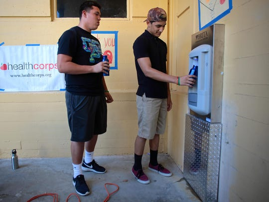 Coachella Valley High School students test out a new Brita hydration station on Thursday. This is the first Brita hydration station on the Coachella Valley High School campus.