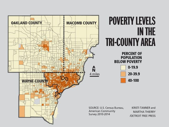 Poverty levels in the tri-county area