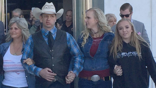 Ryan Bundy walks out of the federal courthouse in Las Vegas on Dec. 20, 2017.