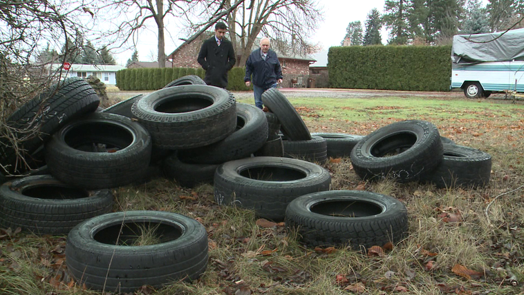 Mysterious piles of tires were illegally dumped on