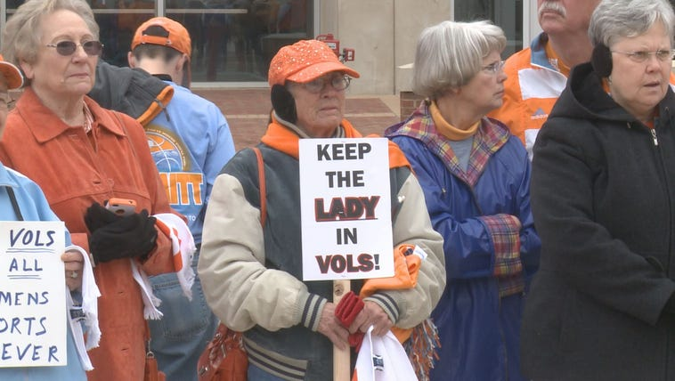 "Dozens gathered in support of the ""Lady Vols"" program."