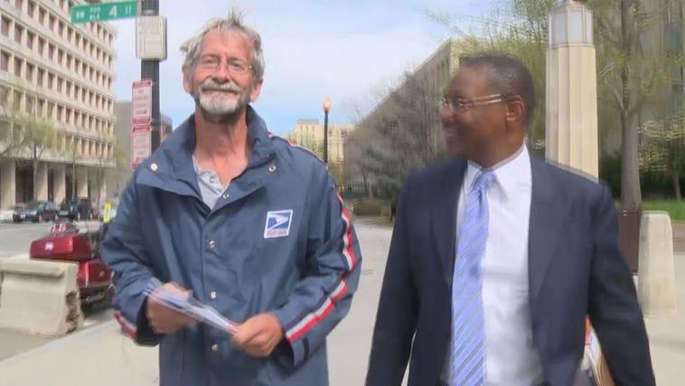Doug Hughes leaves court on Thursday.