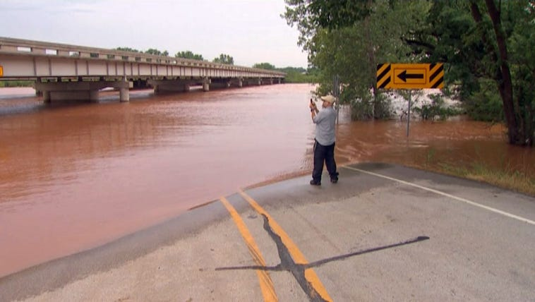 The Interstate 35 frontage road at the Red River was