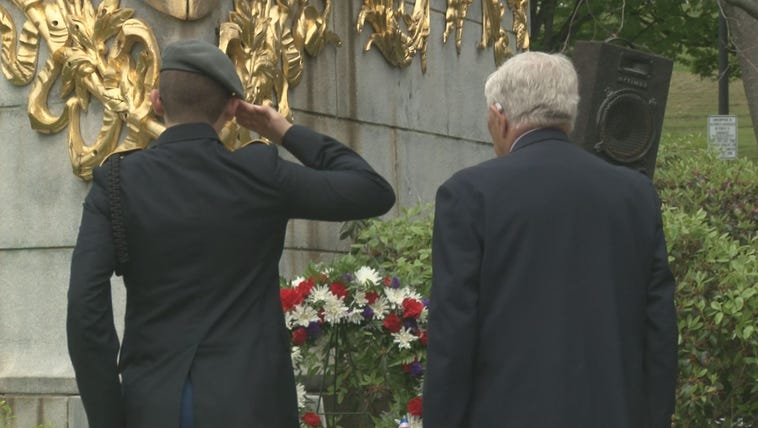 A Memorial Day wreath laying ceremony at the USS Maine