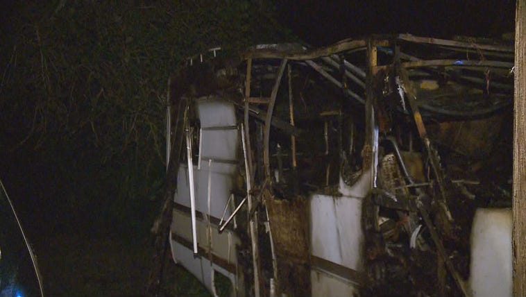 The fire-damaged RV parked in the 300 block of W. Pembroke