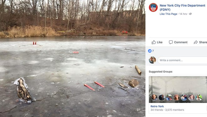 An 11-year-old boy walked out about 50 feet on an icy pond at Forest Park in Queens before he fell through the ice, New York City fire officials said.