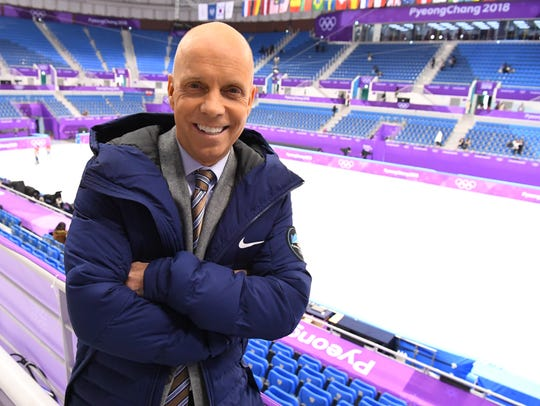 Former champion figure skater Scott Hamilton attends