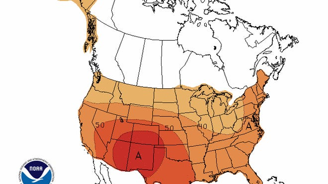 The entire continental United States is projected to experience above-normal temperatures from August through October, according to the National Oceanic and Atmospheric Administration.
