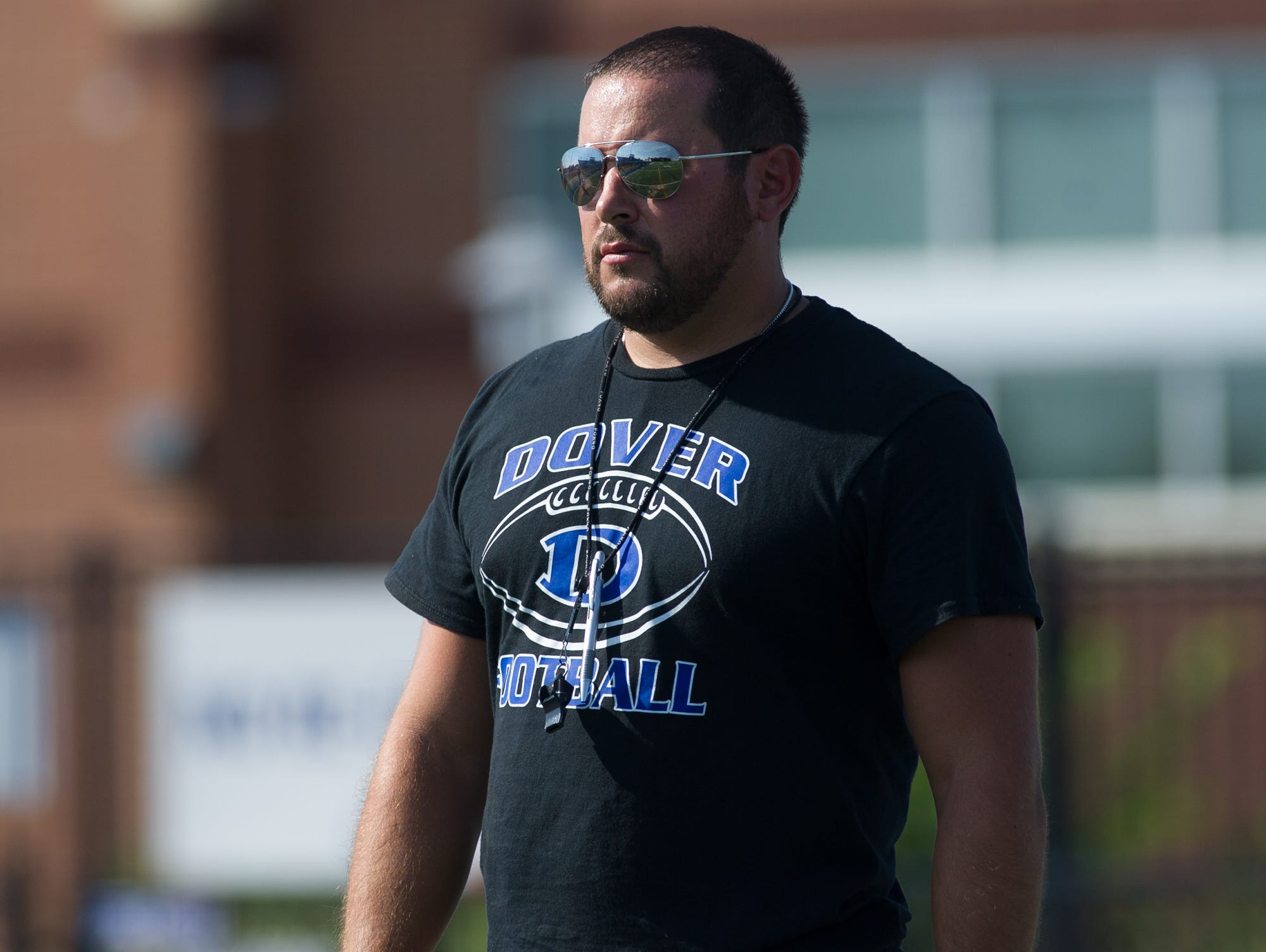 Dover High School's new football coach Rudy Simonetti during their pre season scrimmage against Archmere.