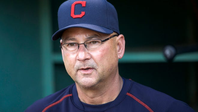 Cleveland Indians manager Terry Francona (17) before the start of the game against the Boston Red Sox at Fenway Park.