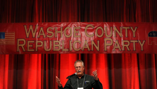 Convention Chair Michael Weber speaks during the Washoe County Republican Convention at the Grand Sierra Resort in Reno on April 2, 2016.