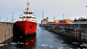 The Canadian cutter Samuel Risley ties up in the Poe Lock in Sault Ste. Marie in this Wednesday, March 21, 2018 file photo.