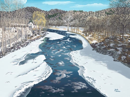 """Icy Battenkill"" by Jacob Houston is among the works on display at the Southern Vermont Arts Center's winter member show."