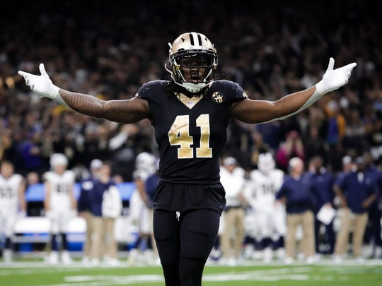 Jan 20, 2019; New Orleans, LA, USA; New Orleans Saints running back Alvin Kamara (41) reacts during the fourth quarter of the NFC Championship game at Mercedes-Benz Superdome. Mandatory Credit: Derick E. Hingle-USA TODAY Sports