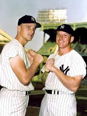 New York Yankees' Mickey Mantle, right, and Roger Maris
