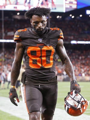 Browns wide receiver Jarvis Landry walks off the field after a Sept. 22 loss to the Los Angeles Rams in Cleveland.