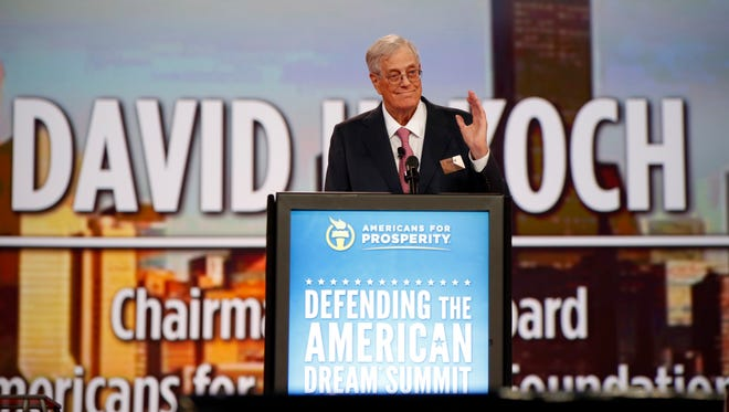 Chairman of the board of Americans for Prosperity David Koch speaks at the Defending the American Dream summit hosted by Americans for Prosperity at the Greater Columbus Convention Center in Columbus, Ohio, Aug. 21.