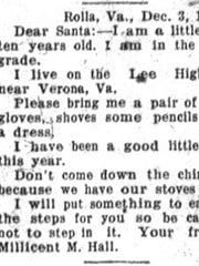 Letter to Santa, published in News Leader, 1930.