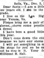 Letter to Santa, published in News Leader, 1930.
