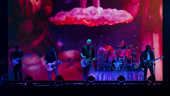 The Smashing Pumpkins perform at the Denny Sanford Premier Center in Sioux Falls, S.D. Tuesday, Aug. 21, 2018.