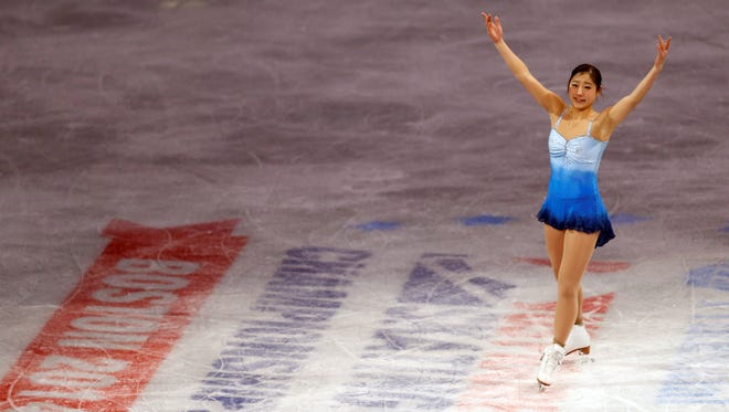 In a file photo from Jan 12, 2014, Mirai Nagasu skates during the exhibition event in the U.S. Figure Skating Championships at TD Garden in Boston.