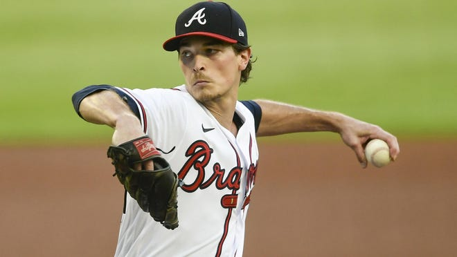 Atlanta Braves' Max Fried pitches against the Washington Nationals during the first inning of a baseball game Saturday, Sept. 5, 2020, in Atlanta.