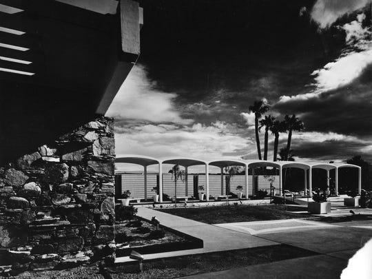The Palm Springs Spa Hotel, in the 1960s, with the concrete colonnade extending from left to right across the photo.