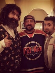 Producer Mick Foley (left), Director Tommy Avallone (right) with Kevin Smith (middle) Smith was huge fan of documentary.