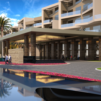 An architect's rendering of the front facade of a 300-room luxury hotel planned by Saxony Group for downtown Cathedral City.