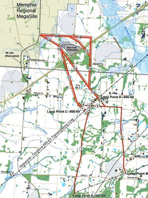 The two proposed routes for power lines would both start in Fayette County and run to the Memphis Regional Megasite in Haywood County.