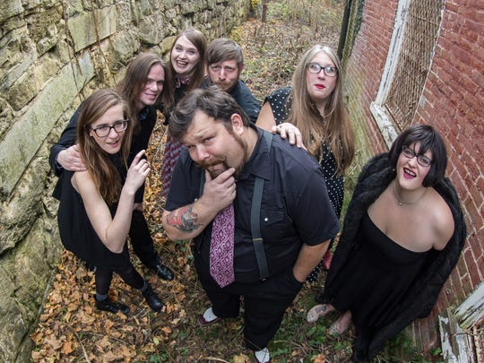 Rachel Smith, Mike Pressel, Jess Bergh, Jims Hinkle, Bill Howard and sisters Molly Murphy and Sally Murphy of Staunton band The Judy Chops compete in Rockn' to Lockn' on Friday, March 16 at The Jefferson Theater in Charlottesville.
