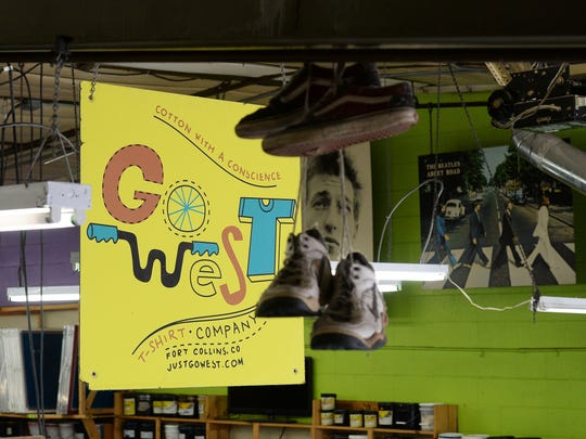 Go West T-shirt Company is an industrial park business that makes T-shirts mainly for the beer industry. Their space is whimsically decorated.