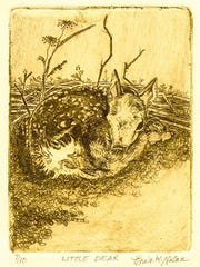 """""""Little Dear,"""" woodblock print by Erin Nolan, who gives a demonstration of her artistic techniques from 11 a.m. to 1 p.m. Nov. 25 at Plum Bottom Pottery & Gallery."""