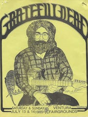 A poster from 1985, when the Grateful Dead played the Ventura Fairgrounds. The band's last show in Ventura was in 1987, and now, 30 years later, the Skull & Roses Festival this weekend is bringing Deadheads back to the Fairgrounds.