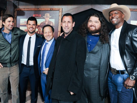 "From left, Luke Wilson, Taylor Lautner, Rob Schneider, Writer/Producer/Actor Adam Sandler, Jorge Garcia and Terry Crews attend the LA Premiere of ""The Ridiculous 6"" held at AMC Universal Citywalk in Universal City, Calif."