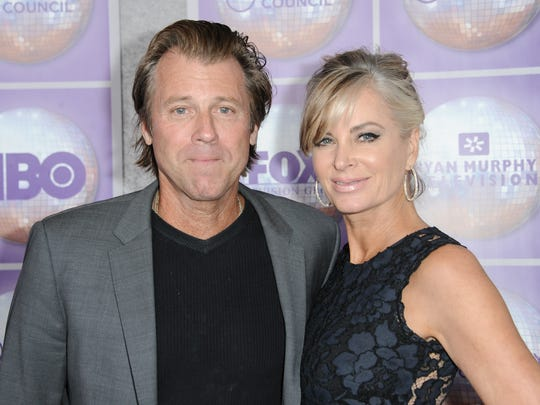 Vincent Van Patten, left, (son of Dick Van Patten) and Eileen Davidson arrive at the Family Equality Council Los Angeles Awards Dinner held at the Beverly Hilton on Saturday, Feb. 28, 2015,