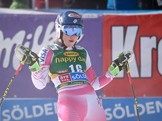 Mikaela Shiffrin of USA takes 2nd place during the Audi FIS Alpine Ski World Cup Women's Giant Slalom on October 22, 2016, in Soelden, Austria