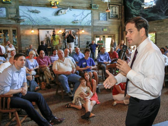 Republican presidential candidate Sen. Marco Rubio, R-Fla., speaks during a campaign stop in Council Bluffs on Friday.