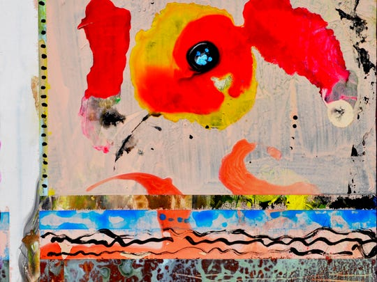 """Tomato Splash,"" acrylic, ink and collage on gesso board by Pat Olchefski-Winston"