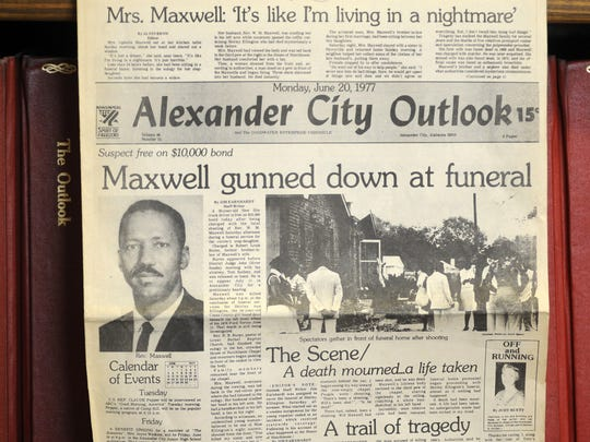 This photograph taken  Aug. 27 in Alexander City shows the front page of the town's newspaper following the slaying of Willie Maxwell in 1977.